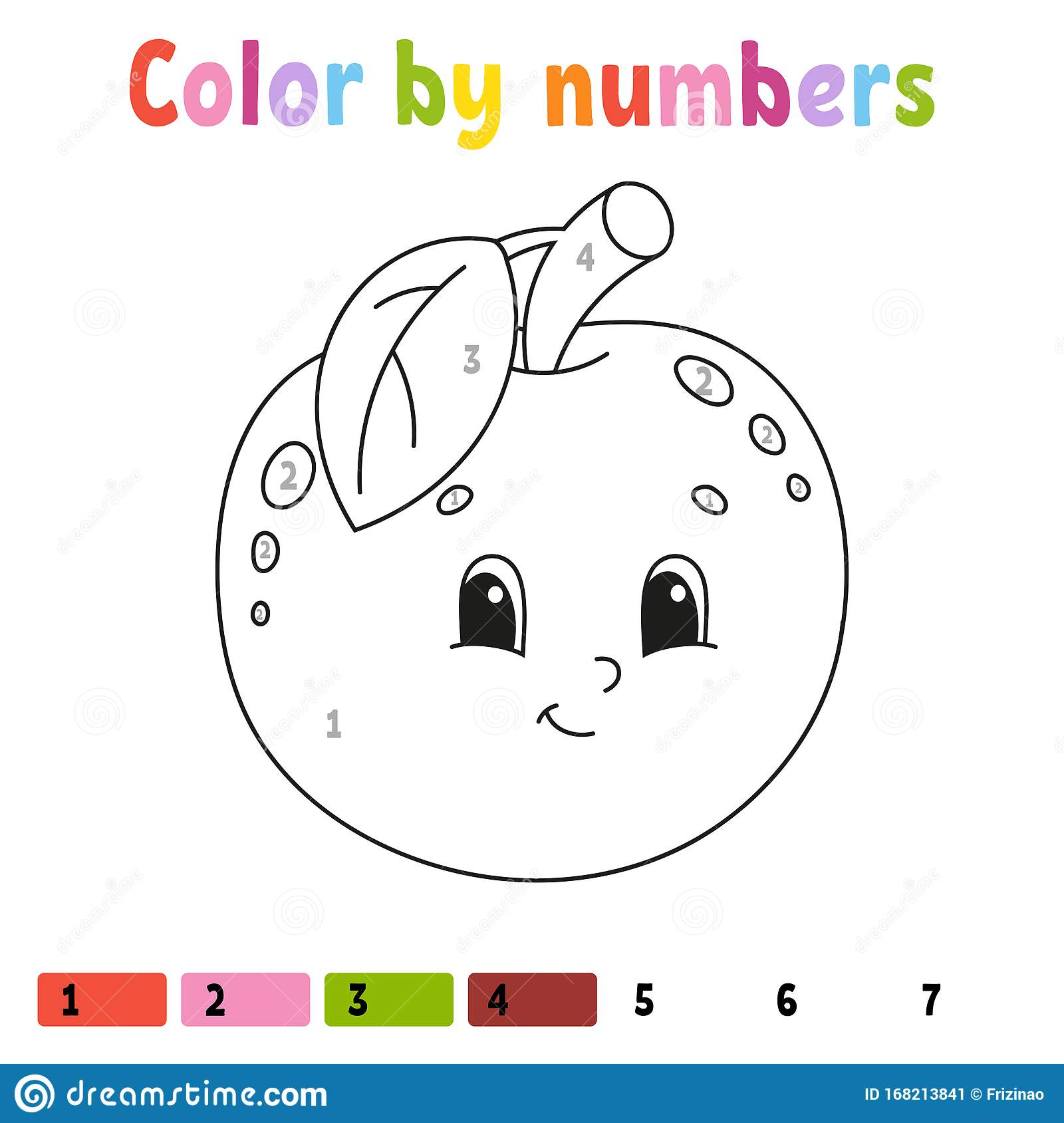 Color By Numbers Apple Coloring Book For Kids Fruit