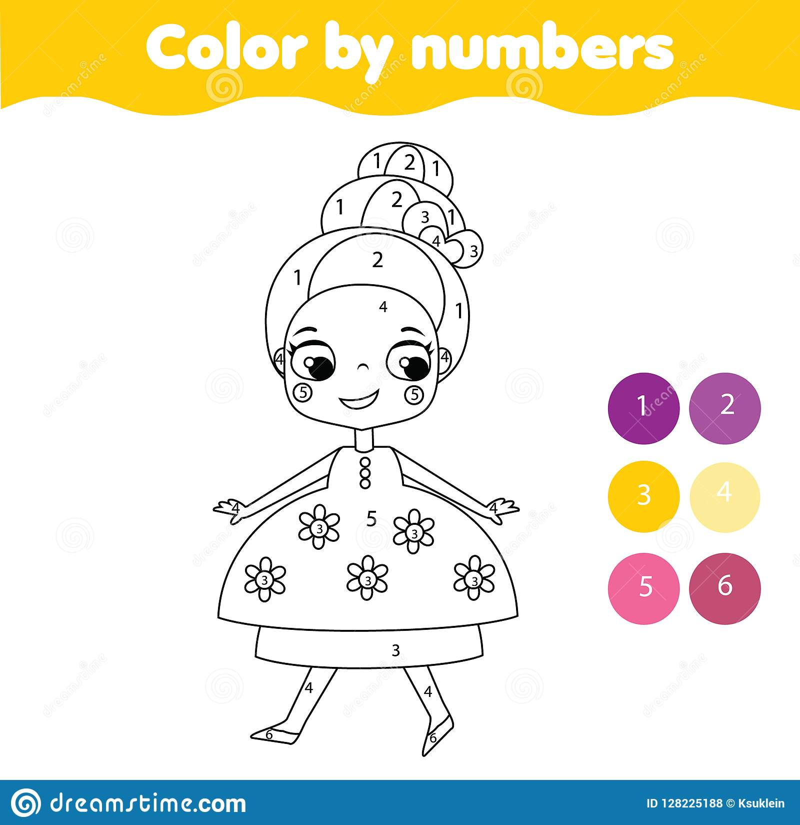 Color By Numbers Educational Children Game Coloring Page