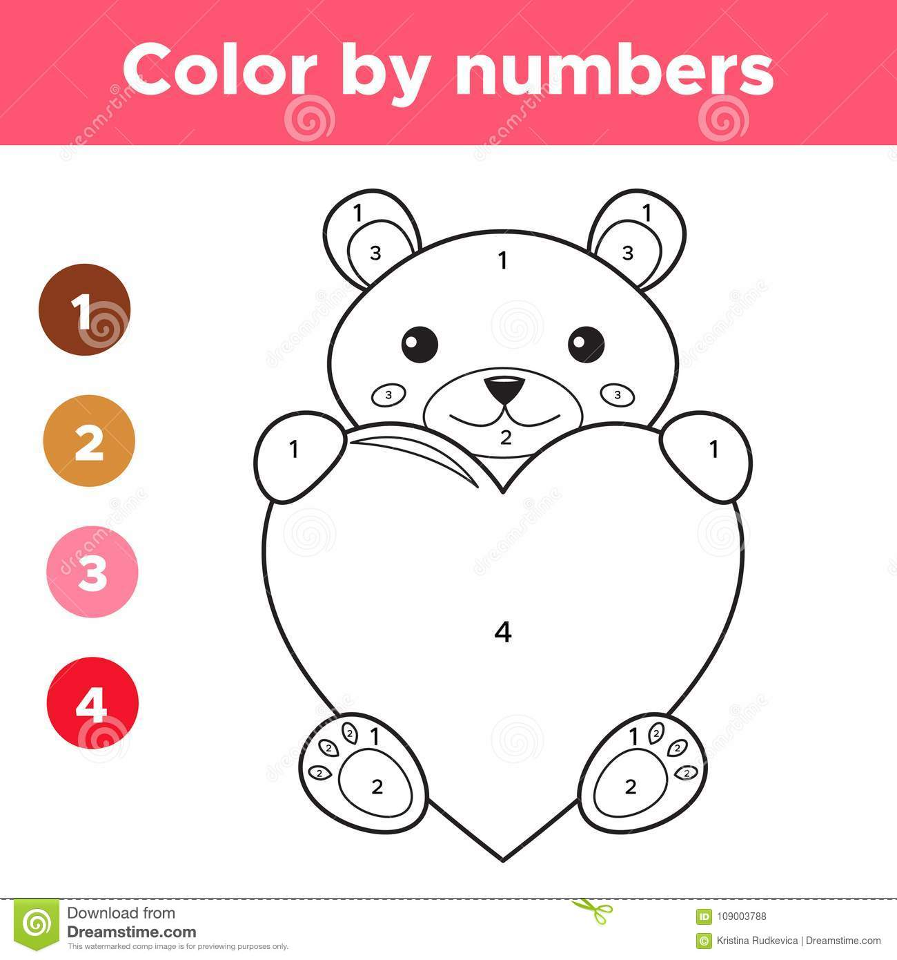 Color By Numbers For Preschool Kids Stock Vector