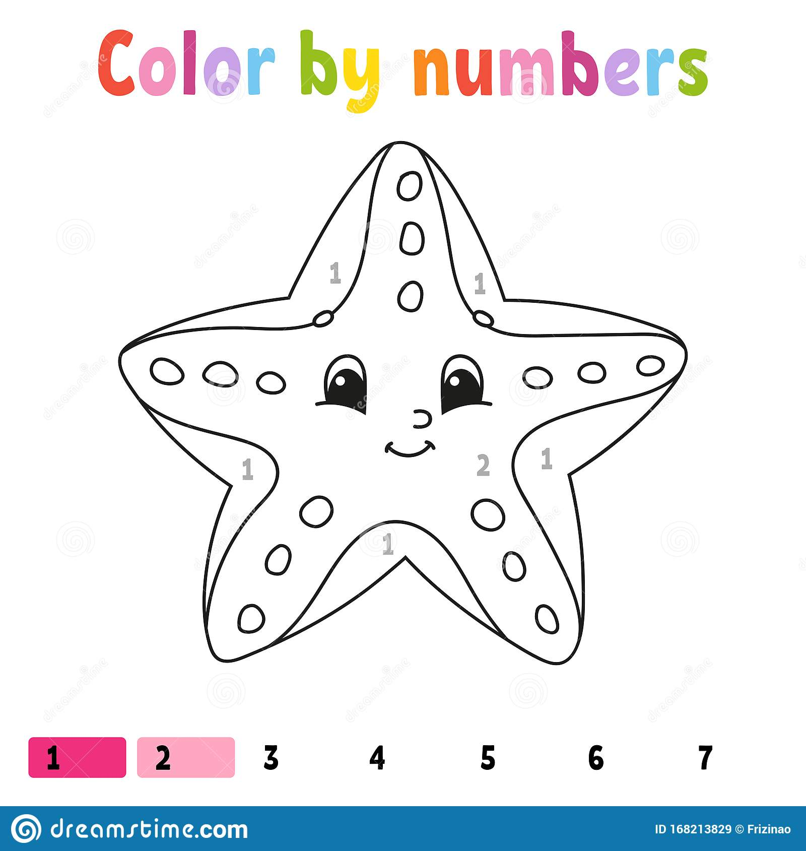 Color By Numbers Starfish Coloring Book For Kids Sea