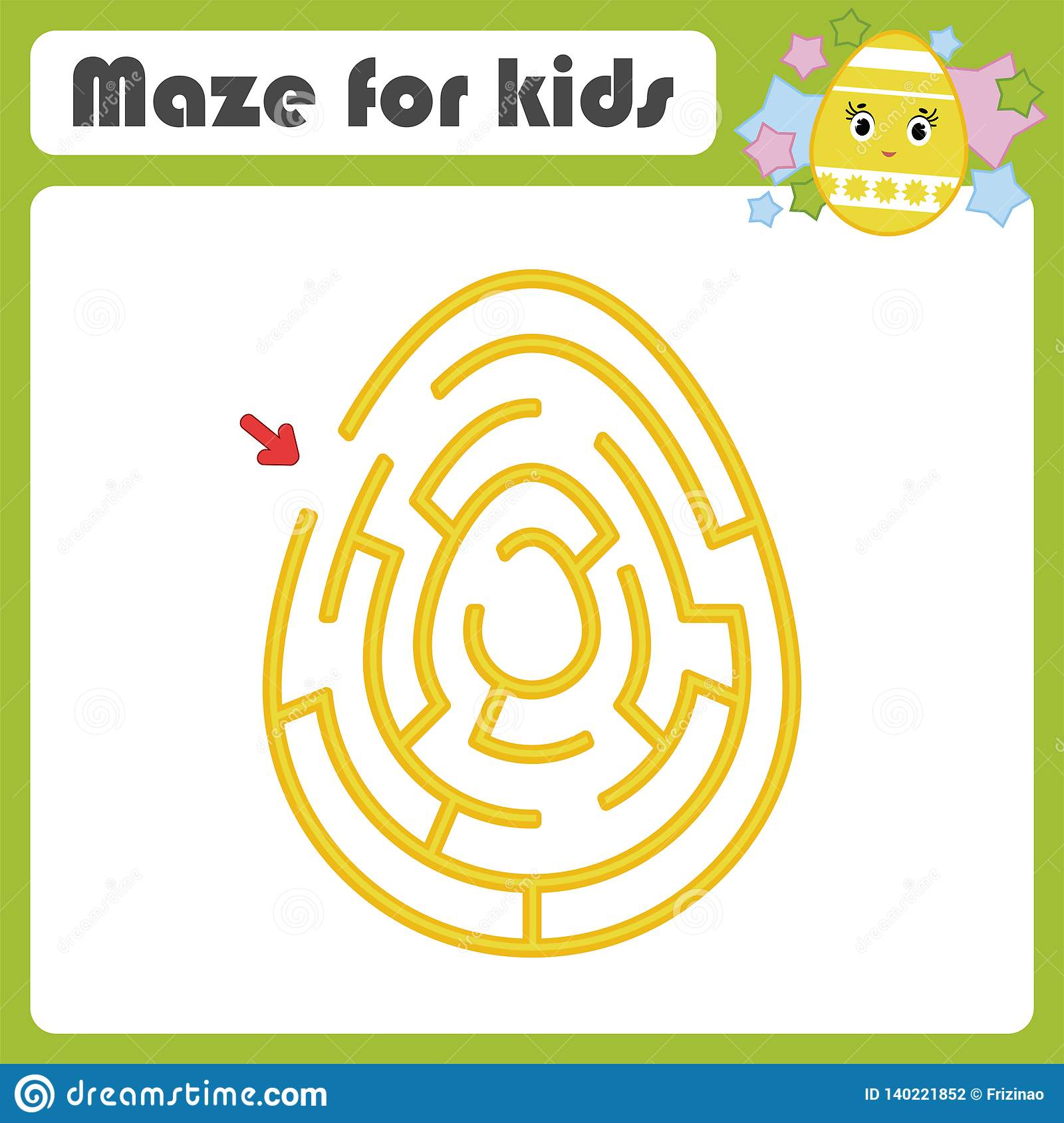 Color Oval Labyrinth Kids Worksheets Activity Page Game