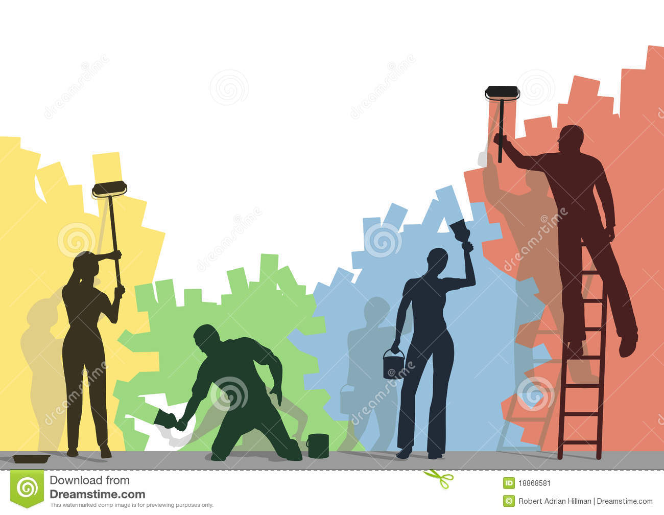 Color Painters Stock Vector Illustration Of Copy Working