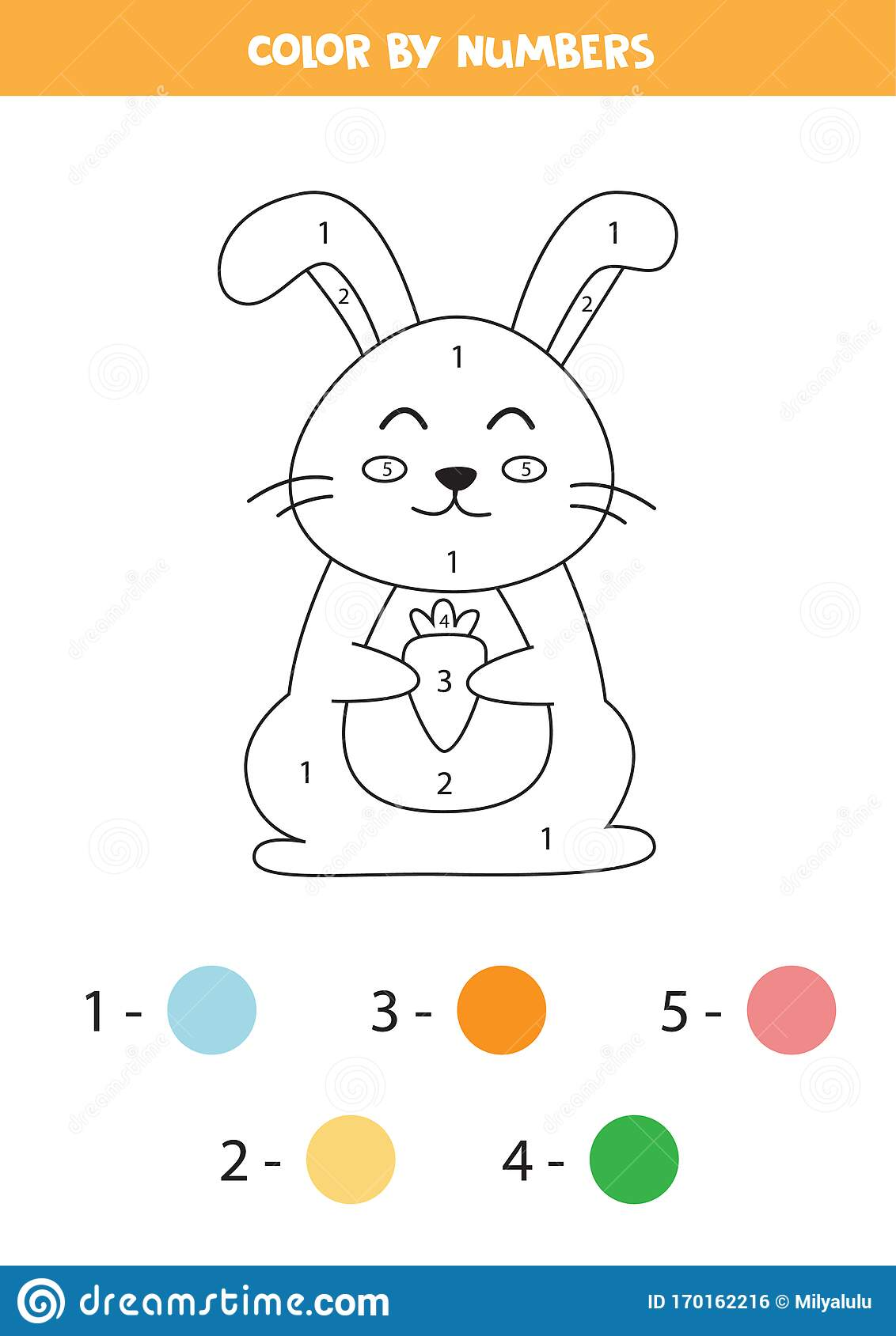 Color Rabbit By Numbers Stock Vector Illustration Of