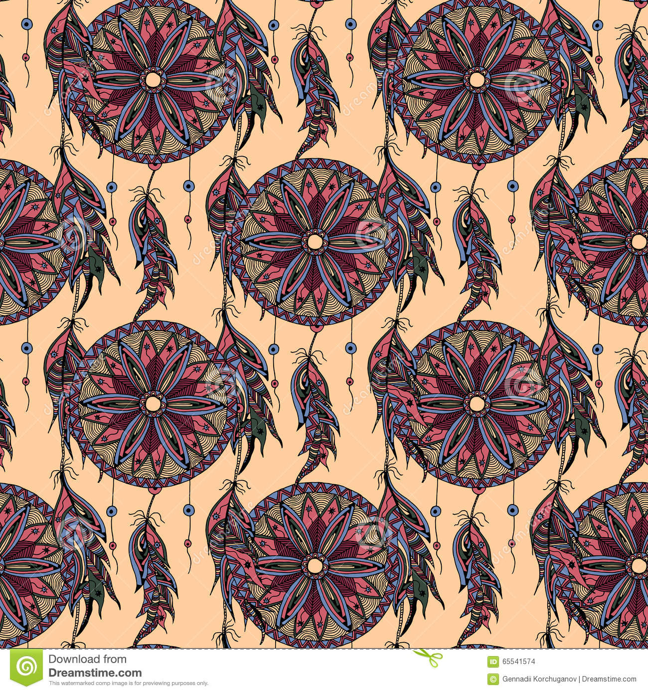 Color Seamless Pattern Dream Catcher With Feathers Stock