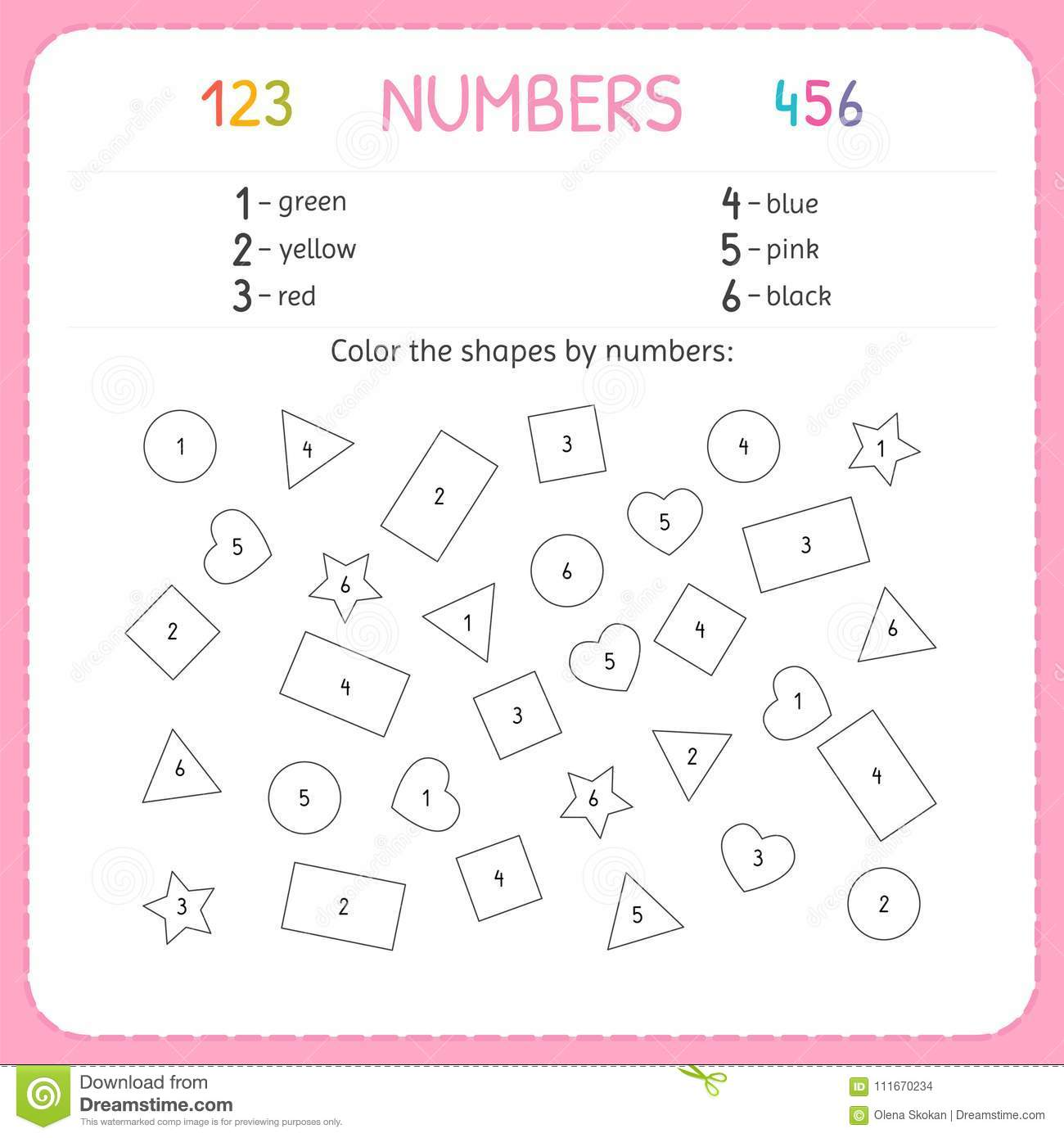Color The Shapes By Numbers Worksheet For Kindergarten And Preschool Training To Write And