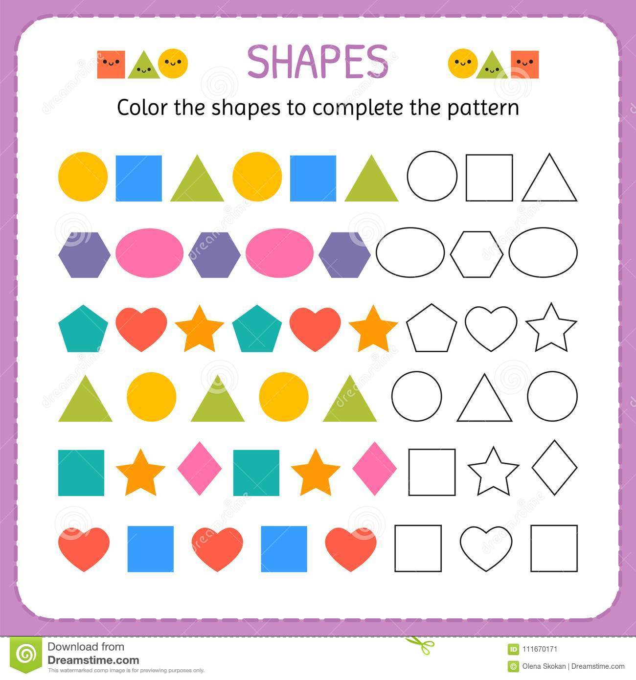Color The Shapes To Complete The Pattern Learn Shapes And