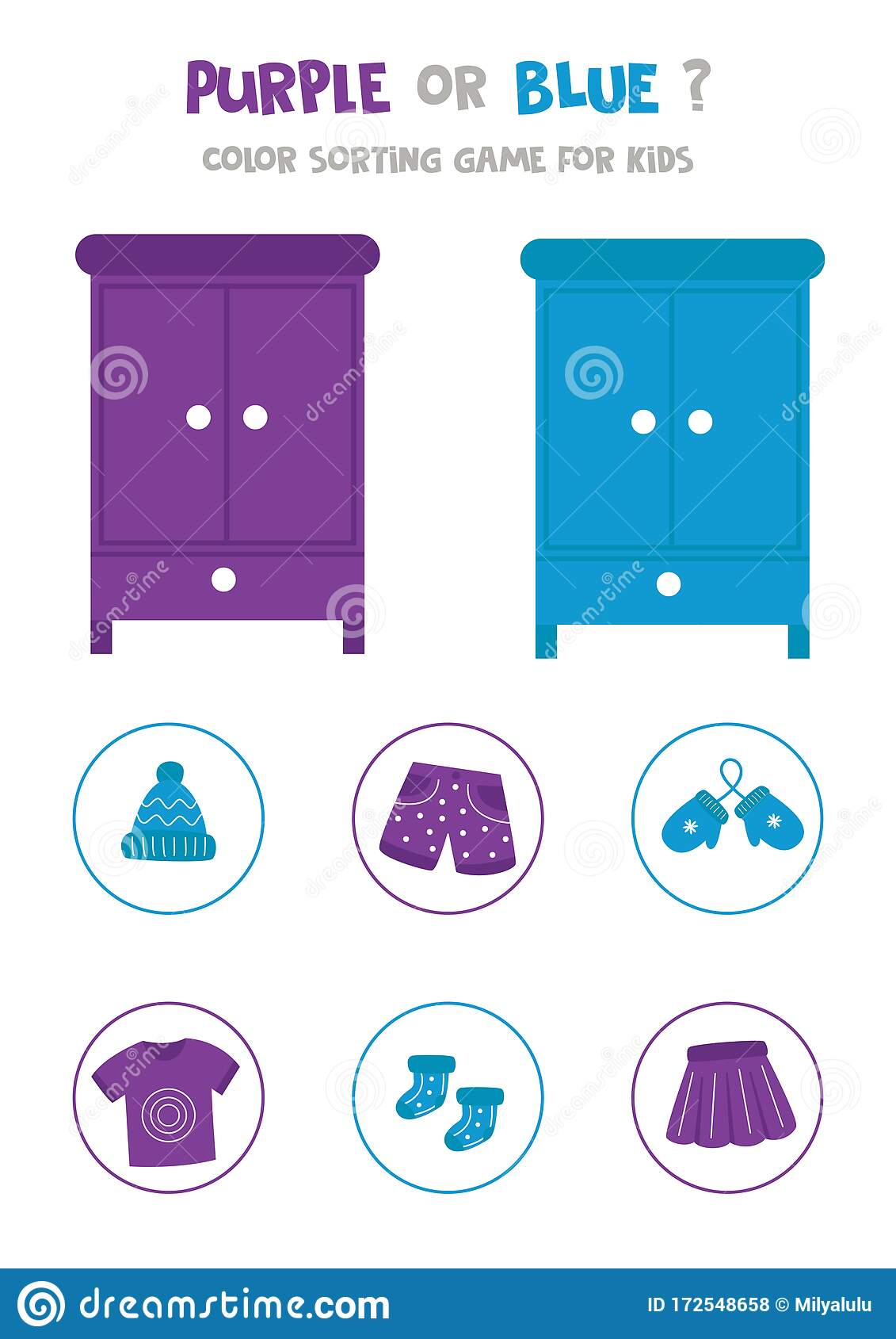 Color Sorting Game For Preschool Kids Purple Or Pink