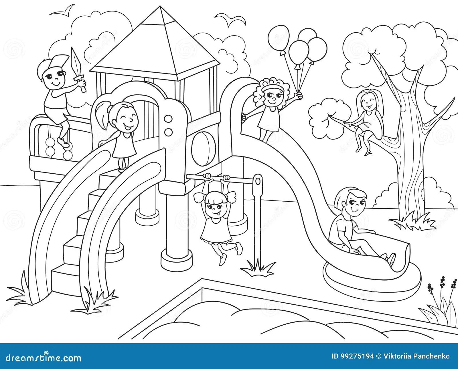 Coloracao Do Campo De Jogos Das Criancas Ilustracao Do