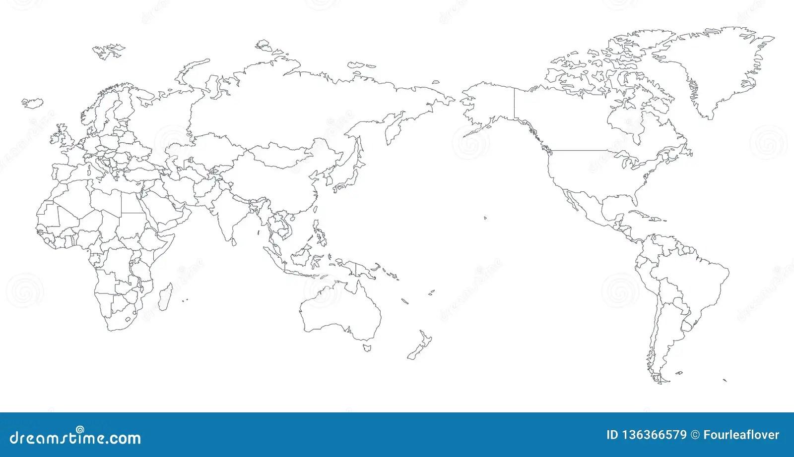 Colore Della Mappa Di Mondo Del Centro Dell Asia