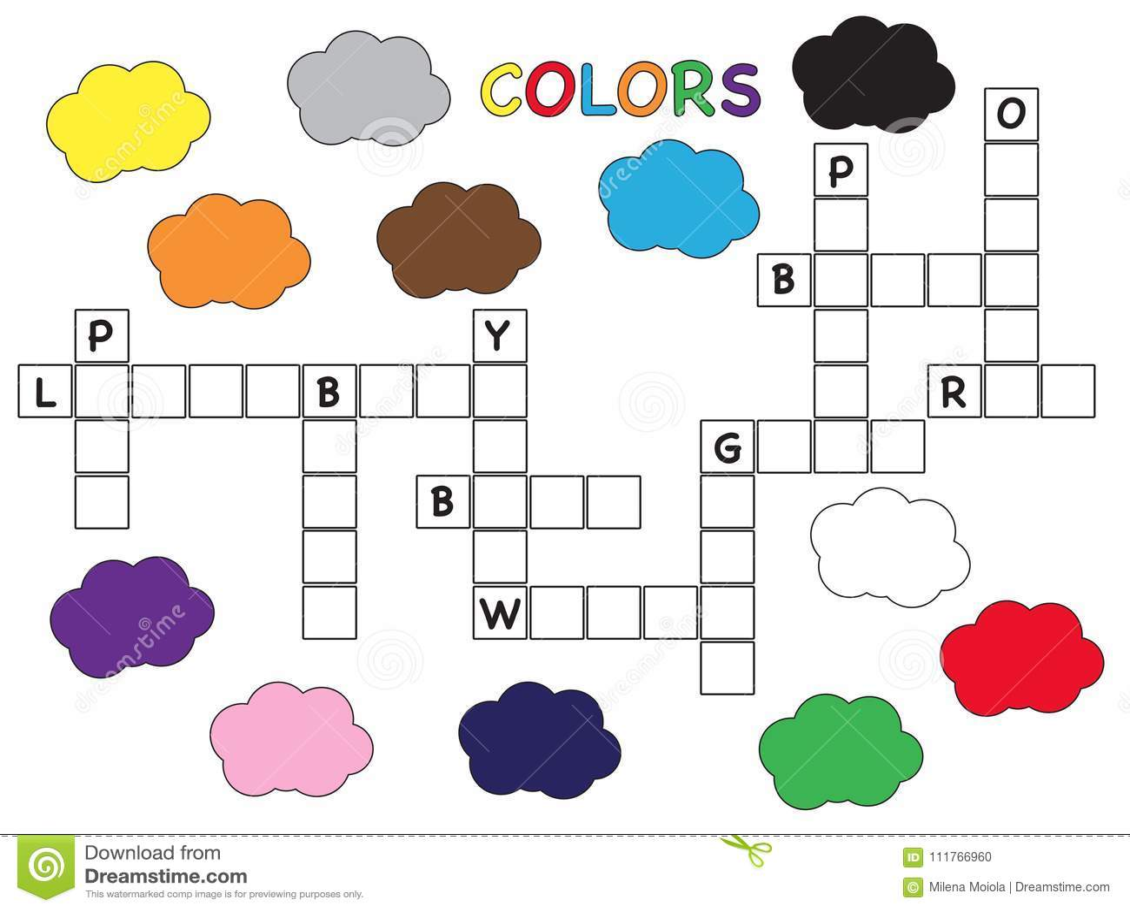 Colorea El Crucigrama Para Los Ninos Stock De Ilustracion