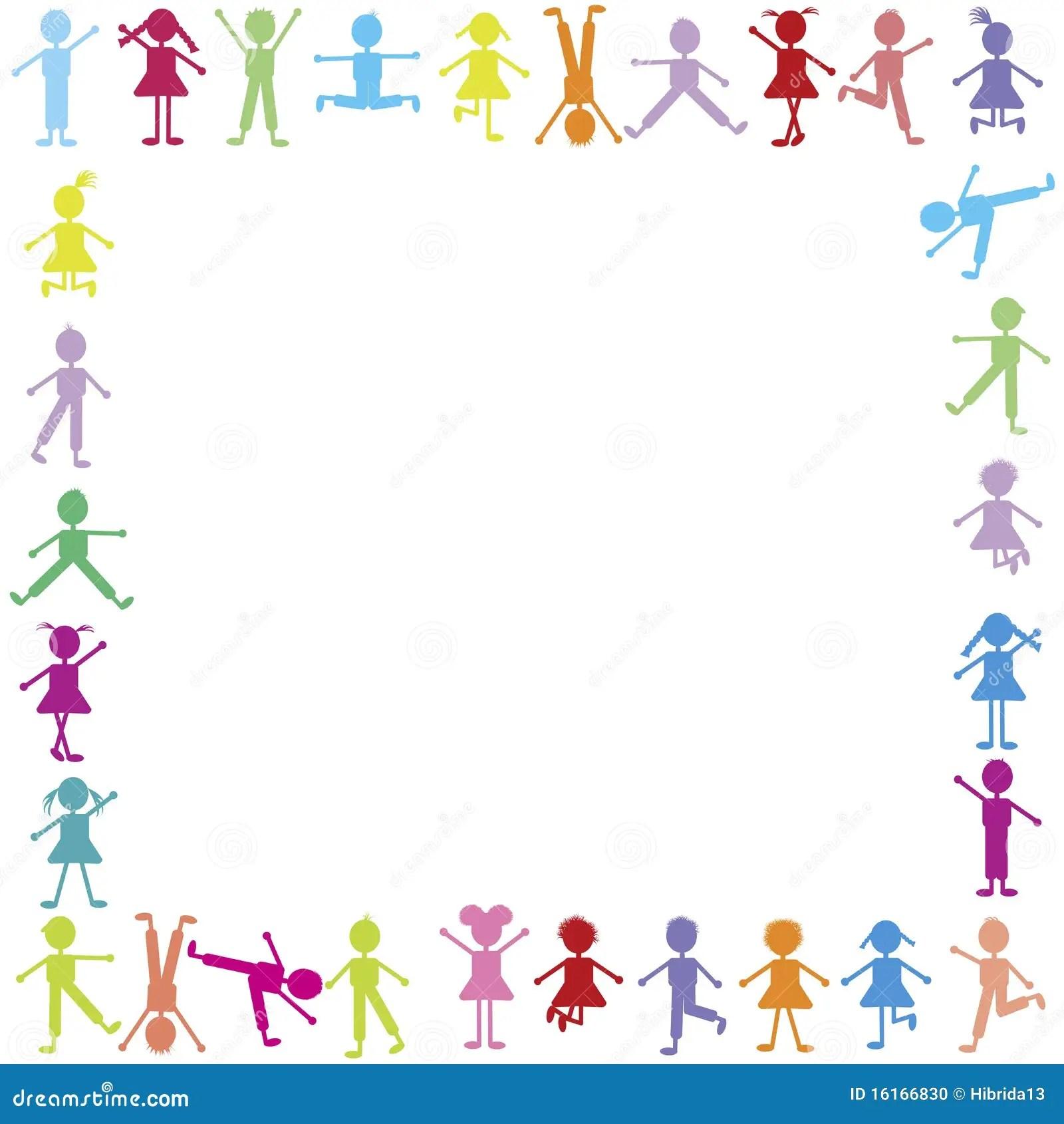 Colored Happy Children Frame Stock Photo