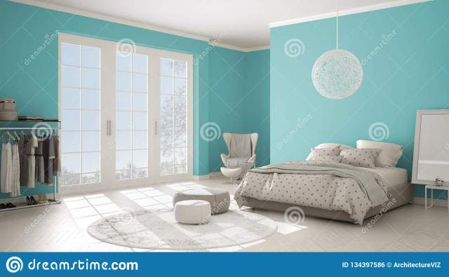 Colored Modern Turquoise And Beige Bedroom With Wooden Parquet Floor Panoramic Window On Winter Landscape Carpet Armchair And Stock Photo Image Of Furniture Beautiful 134397586