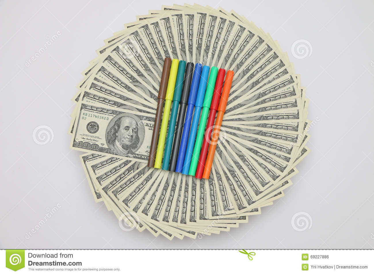 Colored Pens For Coloring Dollar Bills Stock Illustration