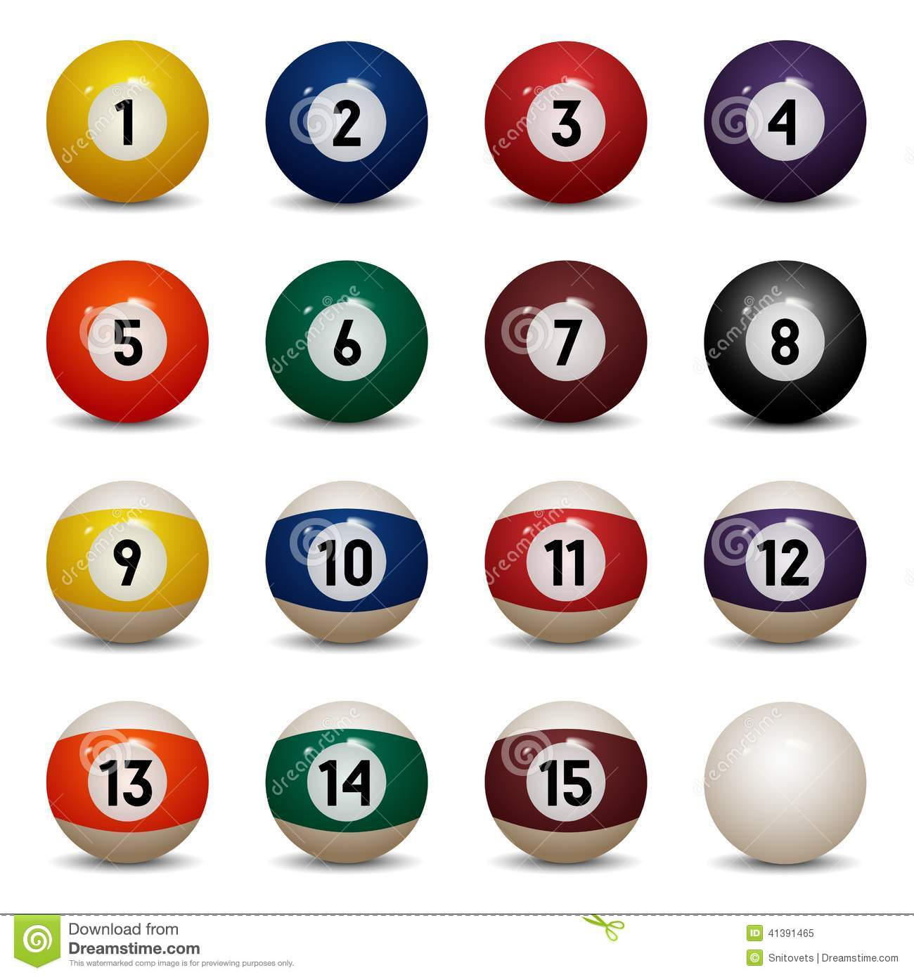 Colored Pool Balls Numbers 1 To 15 And Zero Ball Stock
