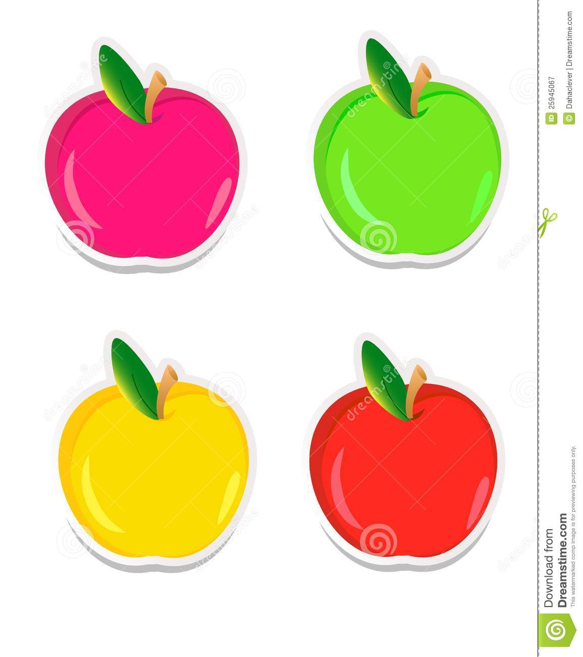 colorful apple stickers stock vector. illustration of beauty - 25945067