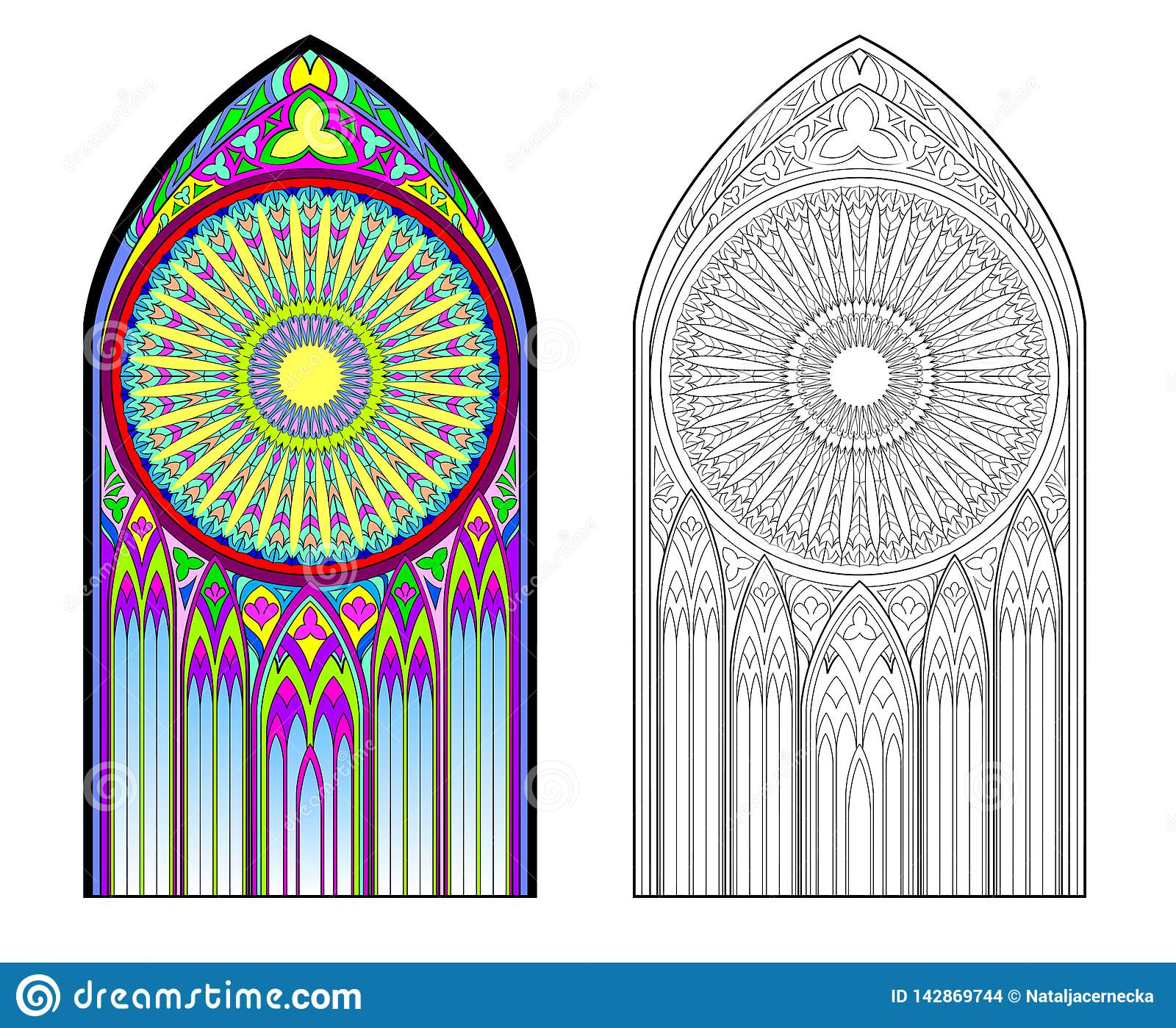 Colorful And Black And White Image Of Gothic Stained Glass
