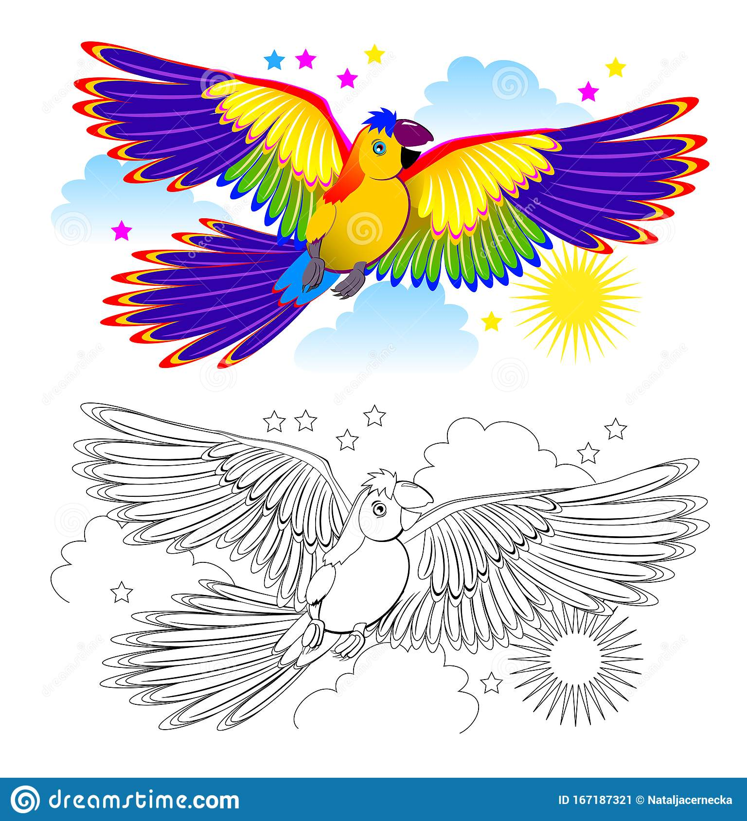 Colorful And Black And White Page For Coloring Book For