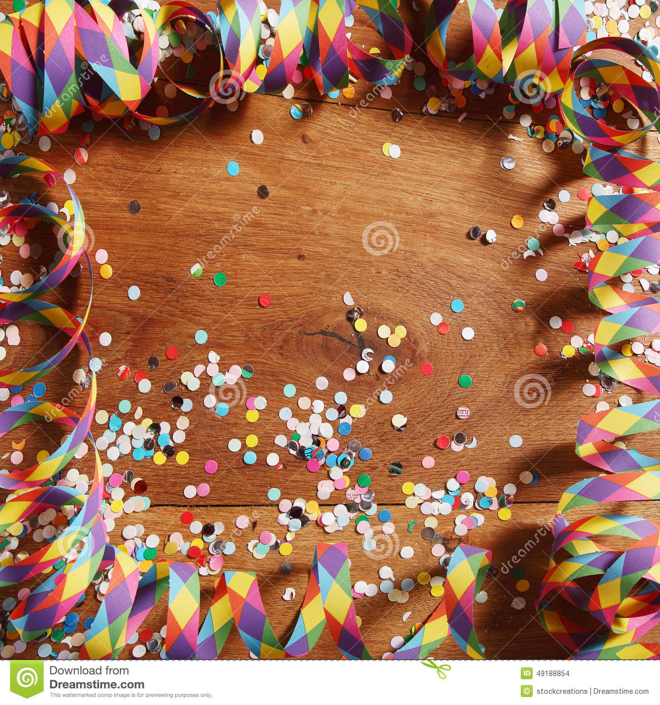 Colorful Carnival Frame Of Streamers And Confetti Stock