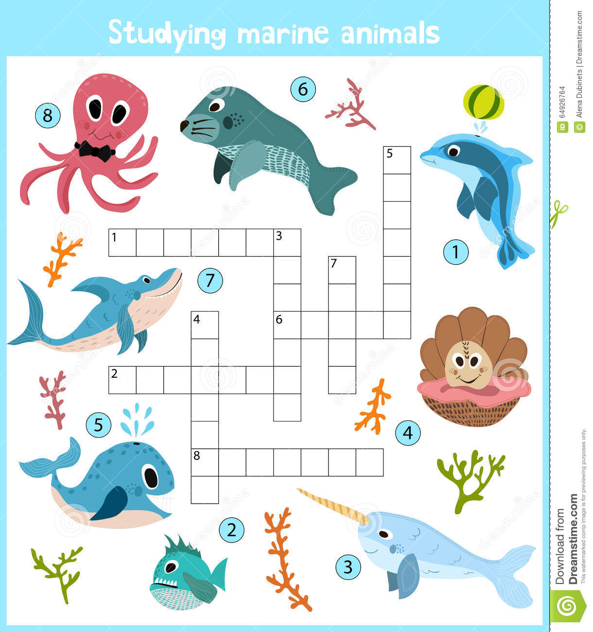 A Colorful Children S Cartoon Crossword Education Game For Children On The Theme Of Sea Animals