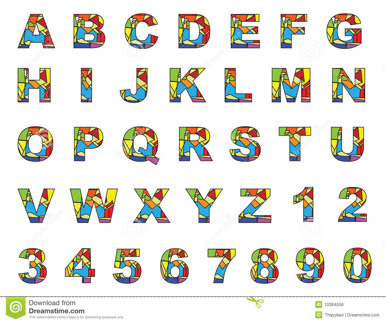 Colorful English Letters A To Z Stock Vector