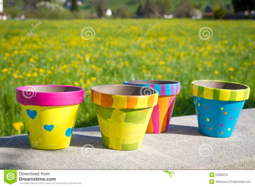 Colorful Garden Pots Next To Flowering Field Stock Image   Image of     Download Colorful Garden Pots Next To Flowering Field Stock Image   Image  of switzerland  paint
