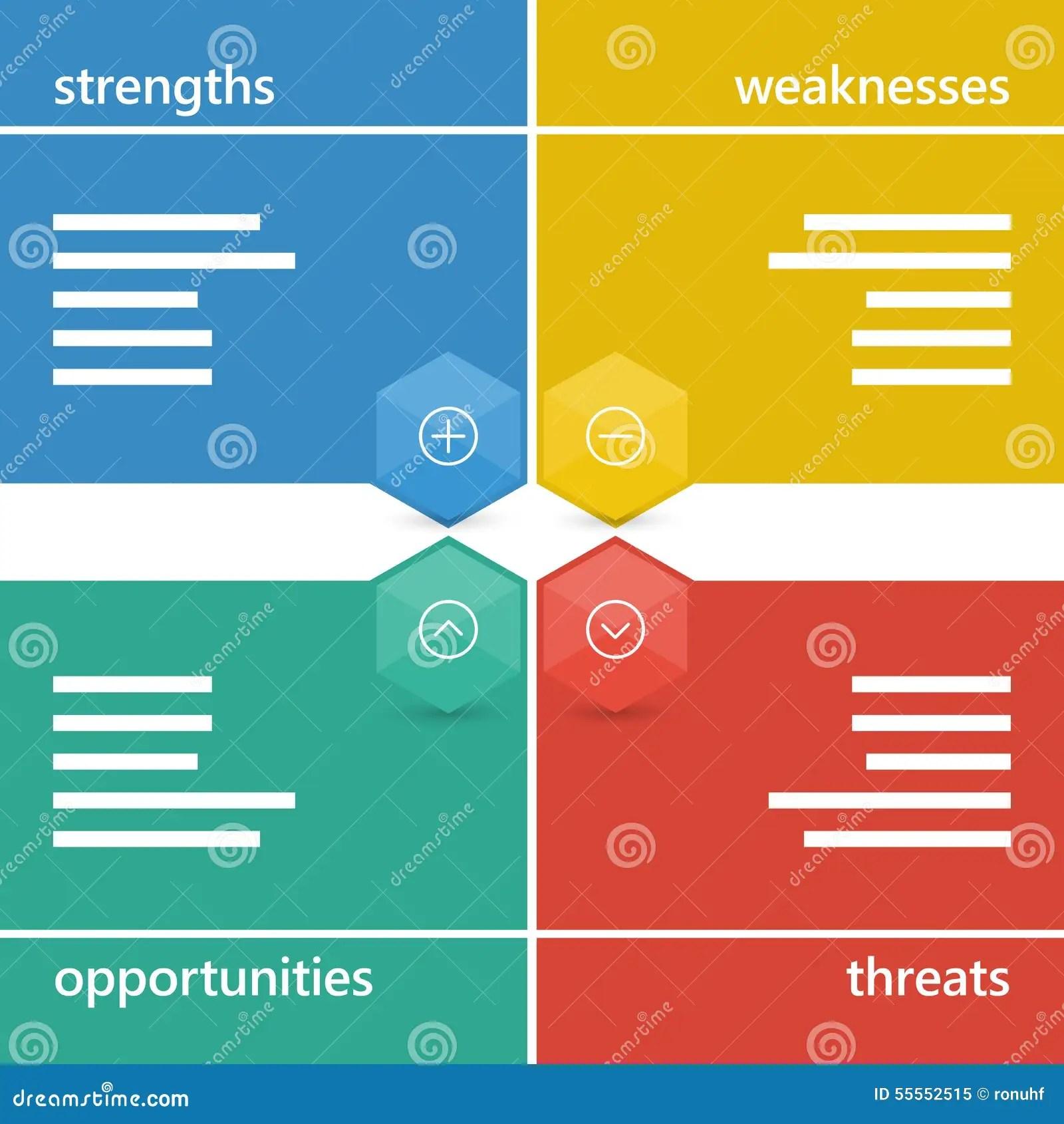 Colorful Geometric Swot Business Diagram Chart Stock
