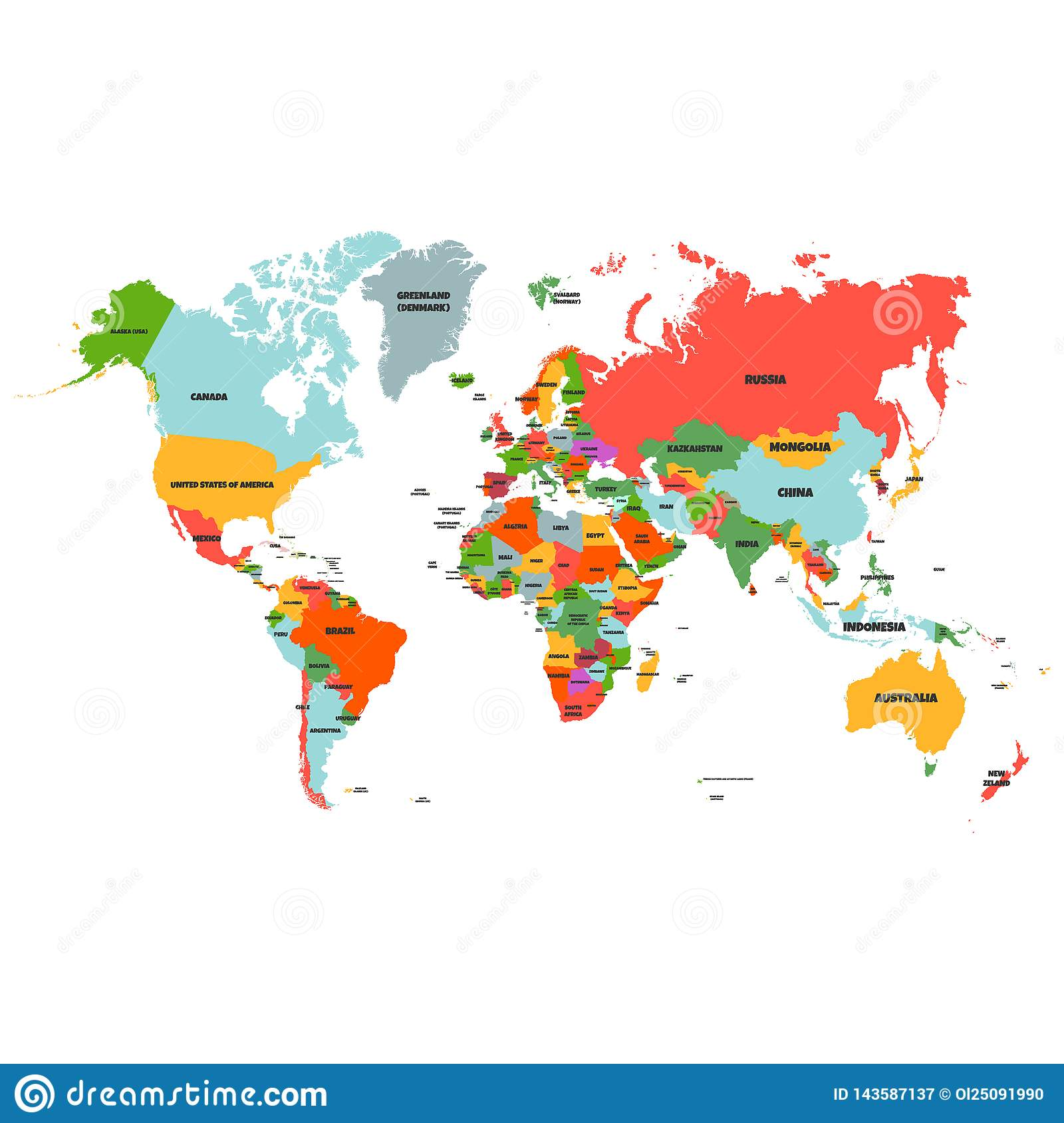 Colorful Hi Detailed Vector World Map Complete With All