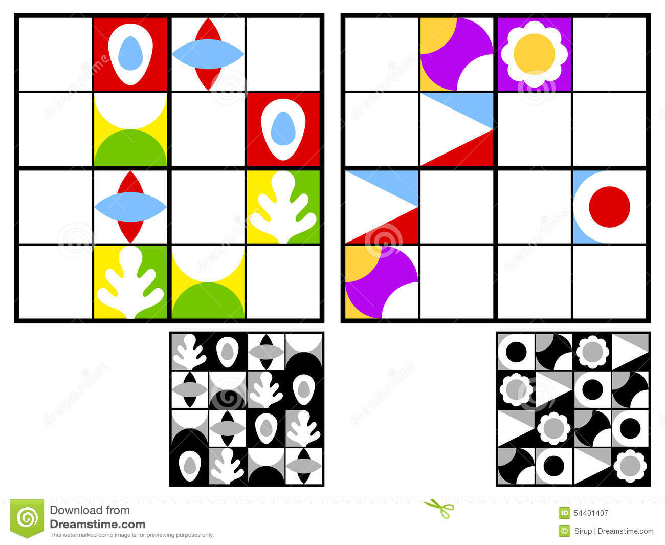 Colorful Kids Sudoku Puzzle Stock Vector