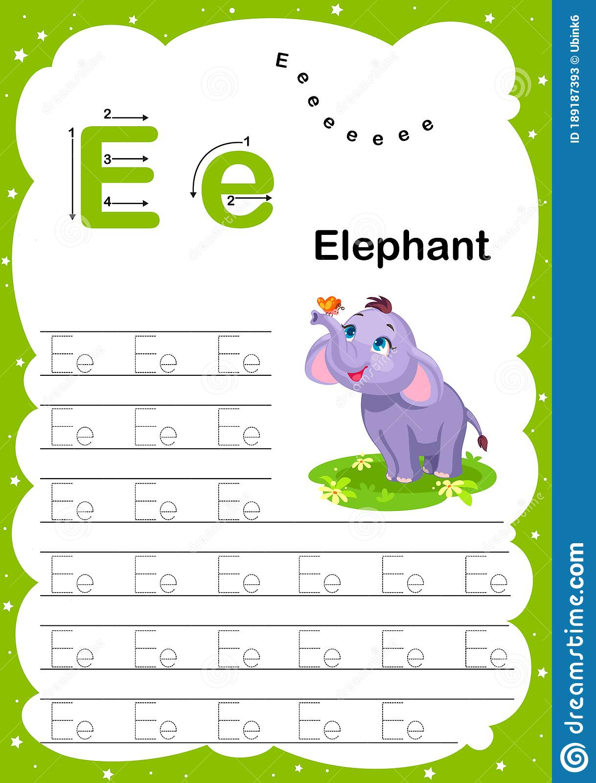 Colorful Letter E Uppercase And Lowercase Alphabet A Z