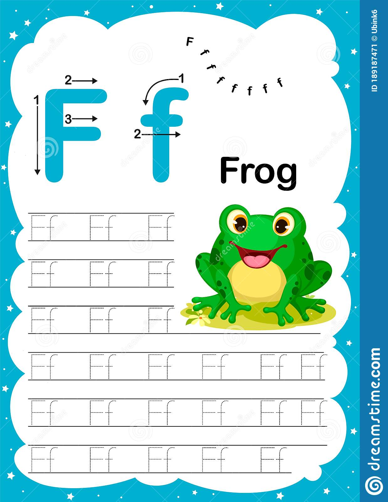 Colorful Letter F Uppercase And Lowercase Alphabet A Z