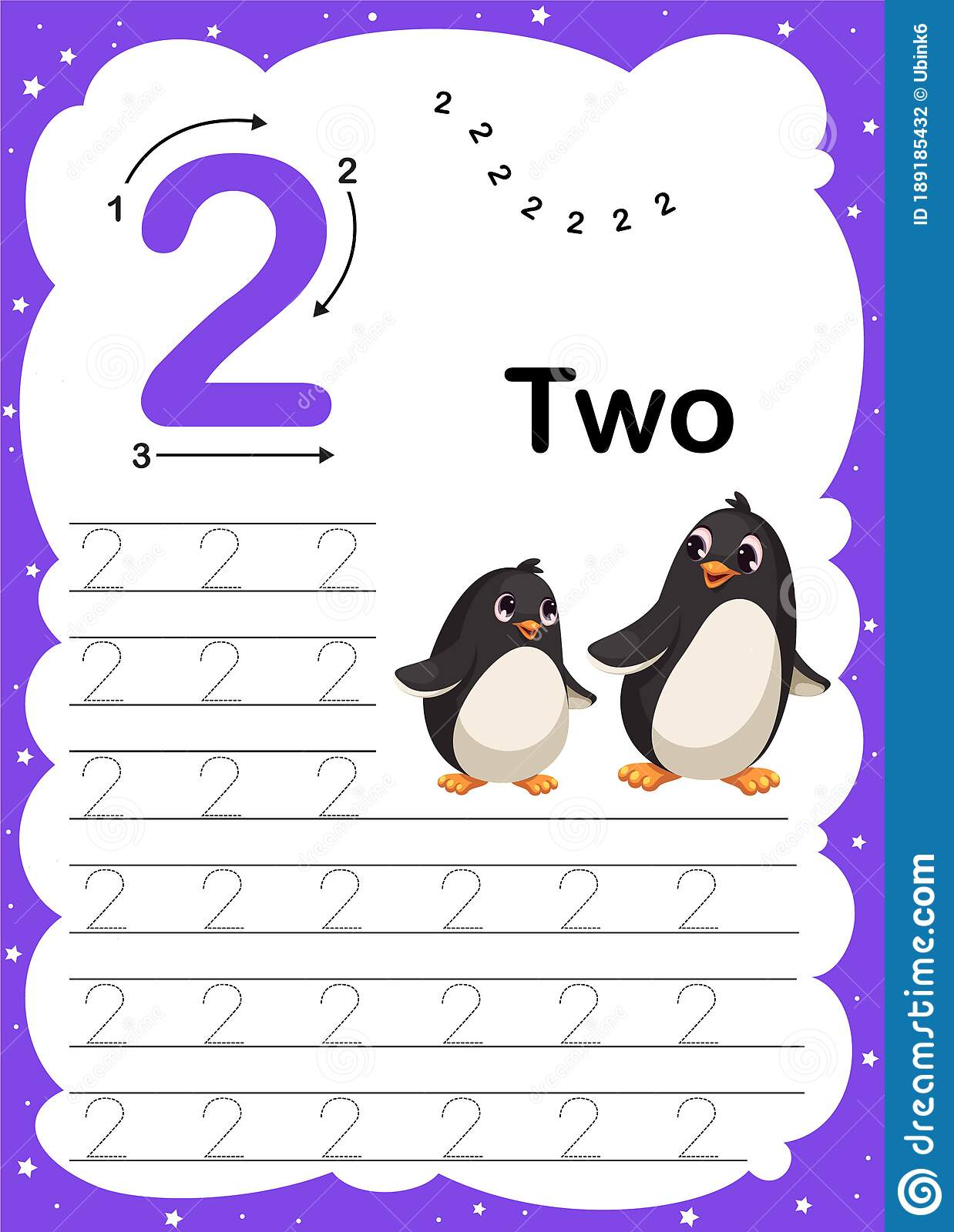 Colorful Number Two Daily Tracing Printable A4 Practice
