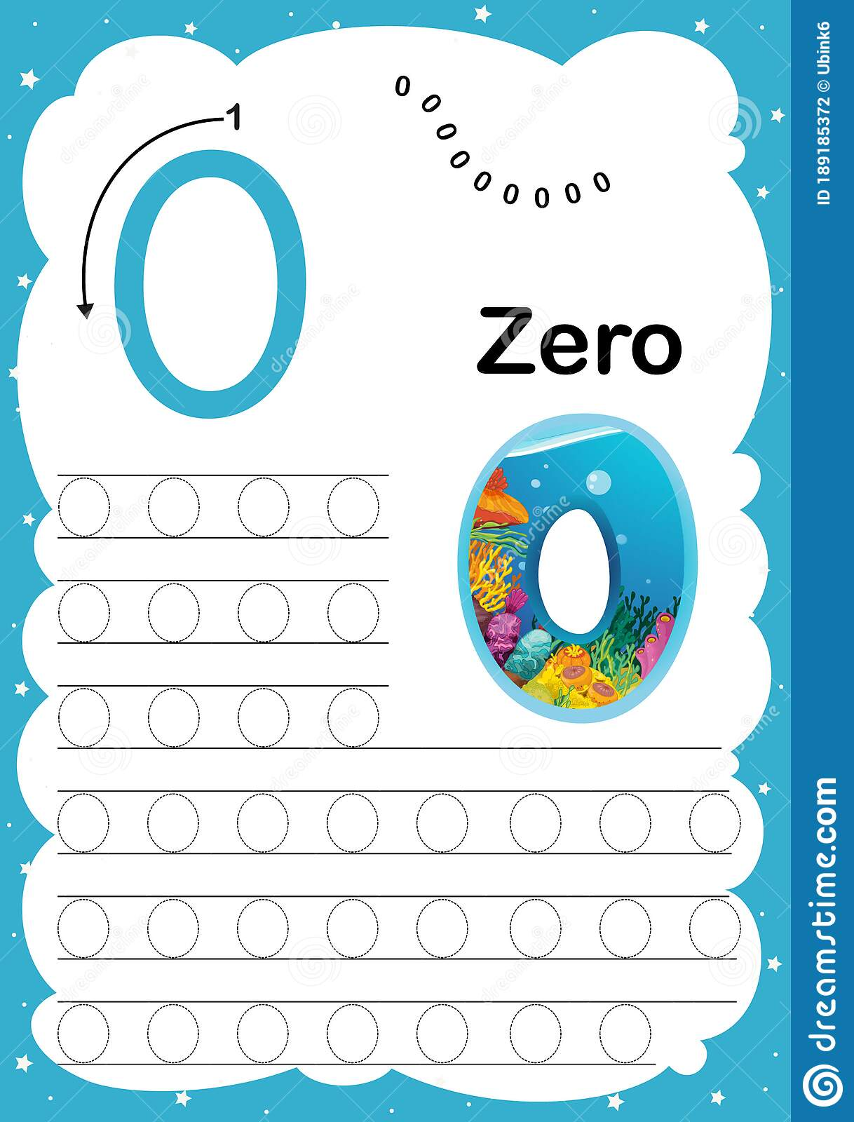 Colorful Number Zero Daily Tracing Printable A4 Practice