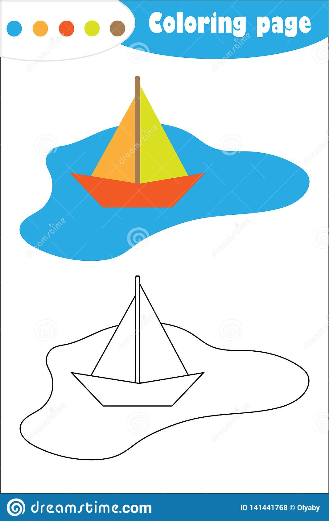 Colorful Paper Boat In A Puddle In Cartoon Style Coloring