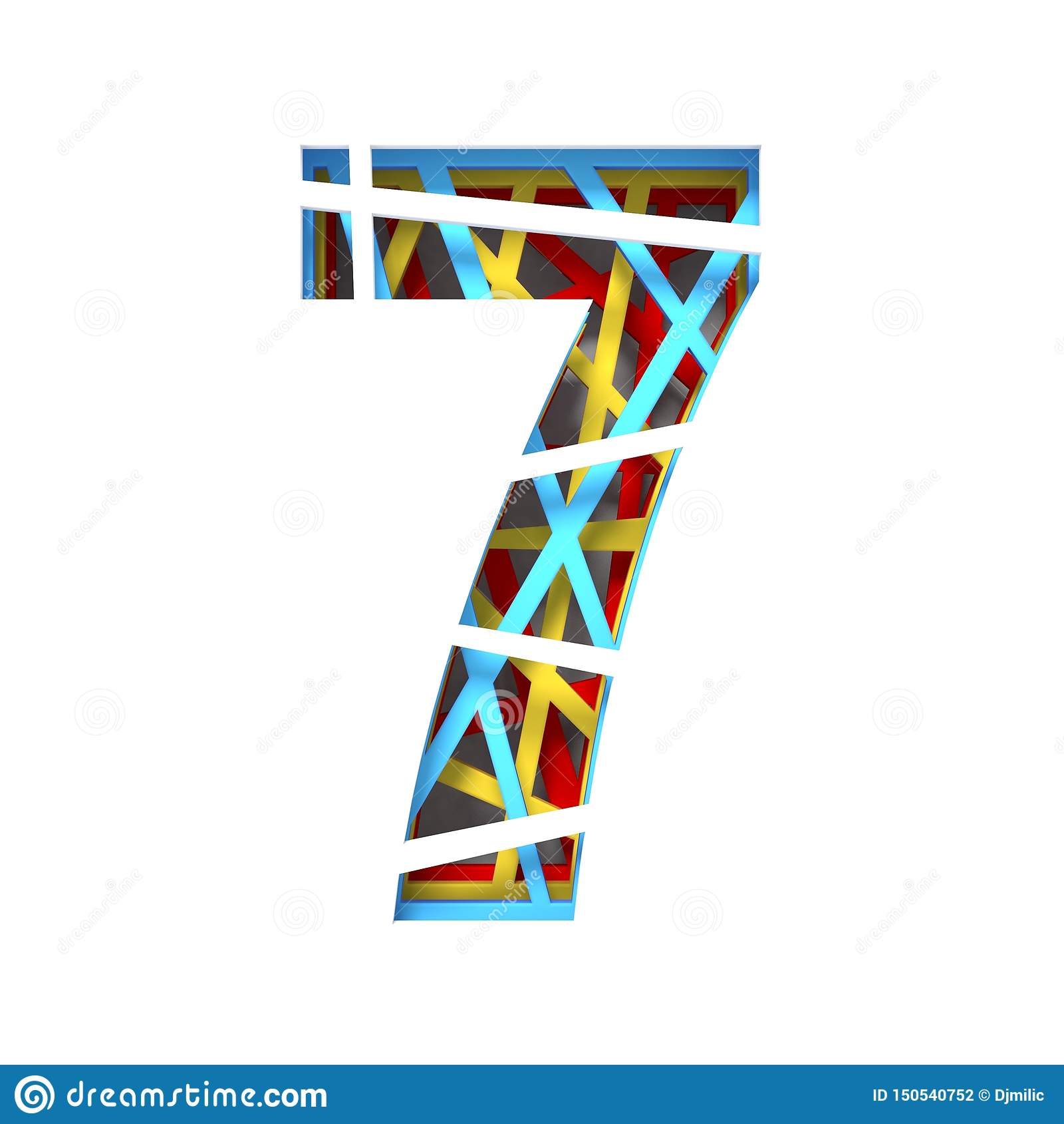 Colorful Paper Cut Out Font Number 7 Seven 3d Stock