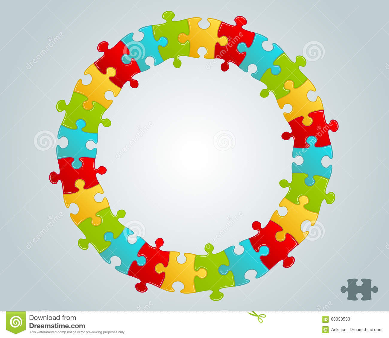 Colorful Puzzle Pieces Round Frame Stock Vector Image 60338533