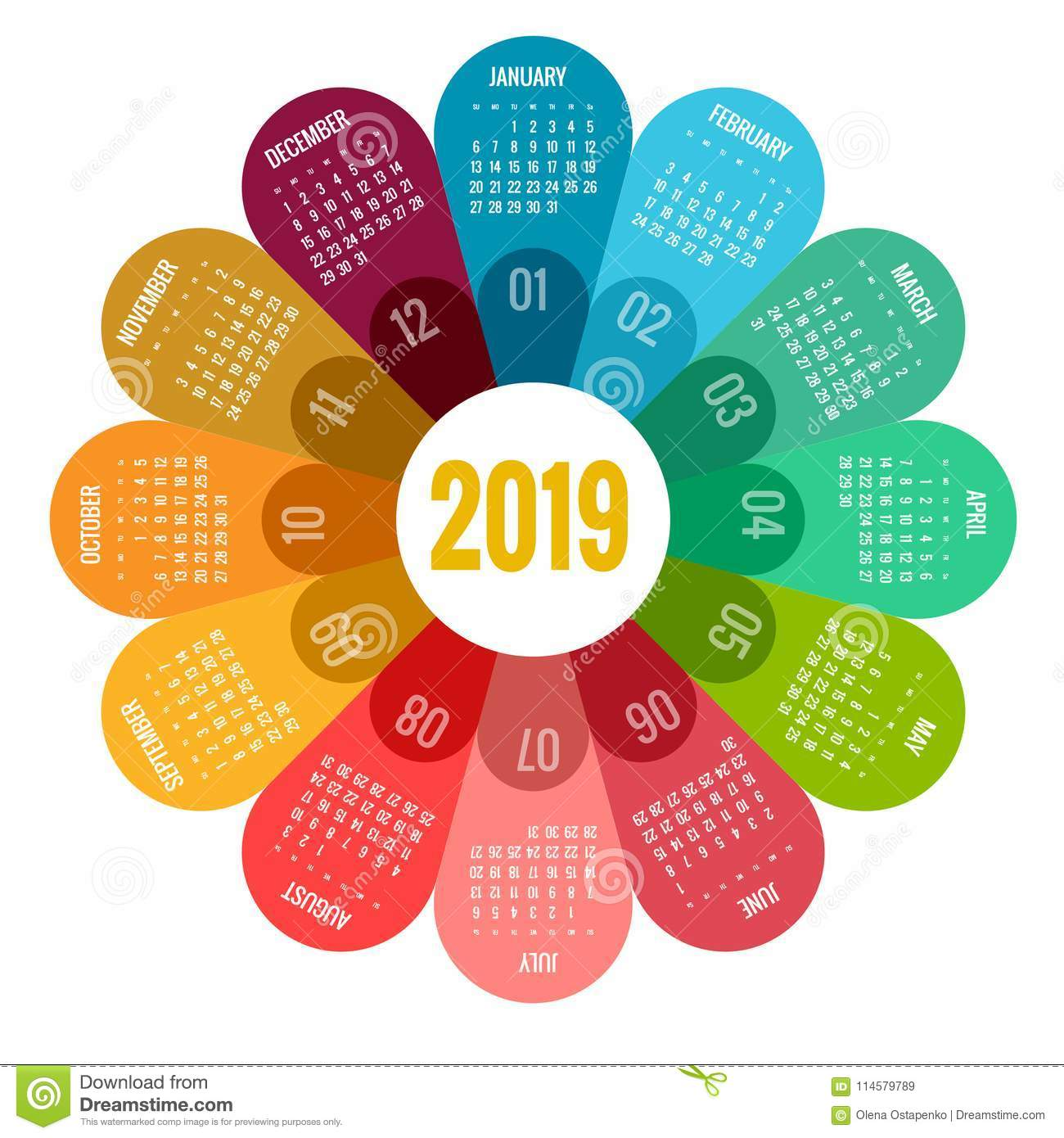 Colorful Round Calendar 2019 Design Print Template Your Logo And Text Week Starts Sunday