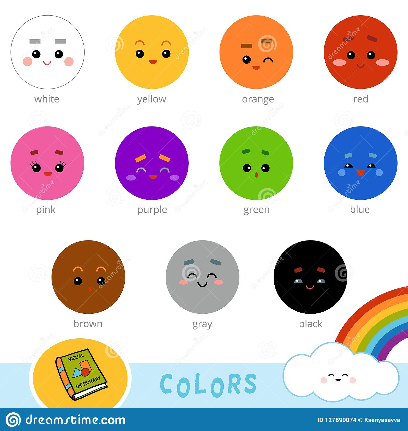 Colorful Set Of Basic Colors Visual Dictionary For