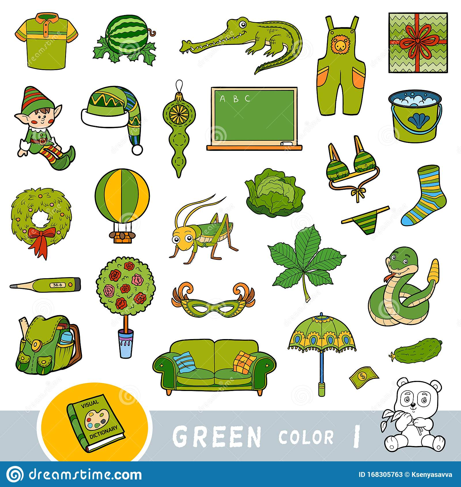 Colorful Set Of Green Color Objects Visual Dictionary For