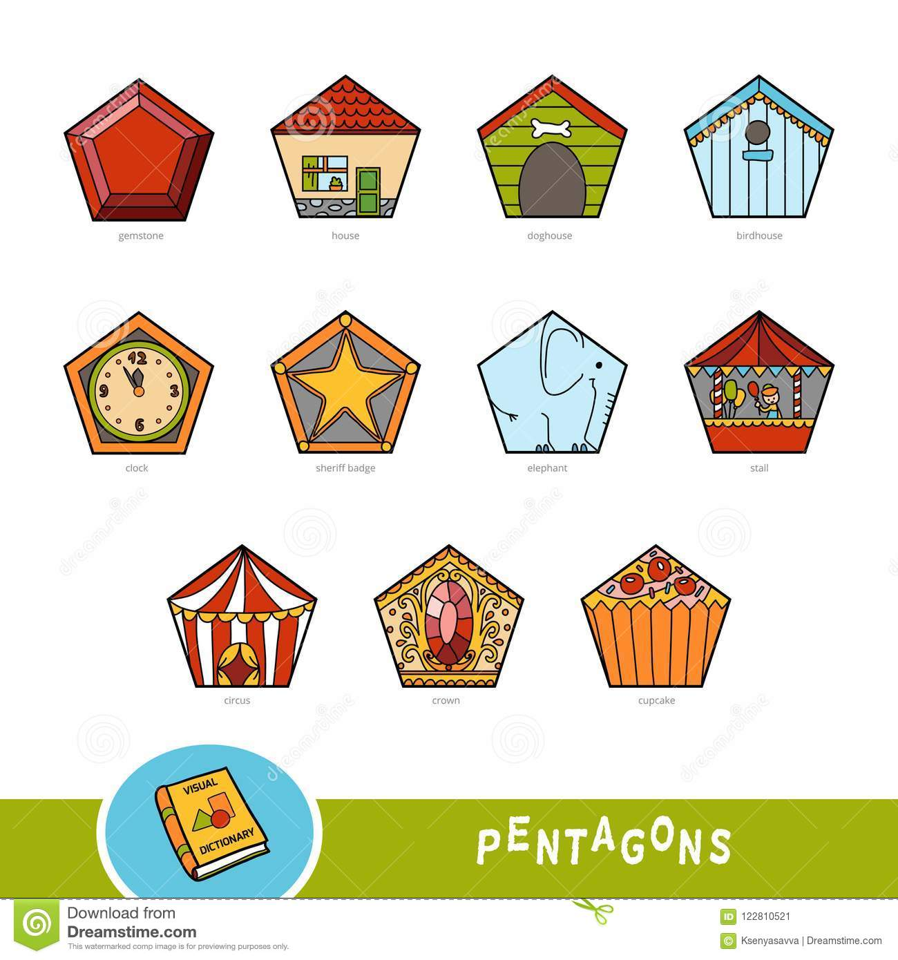 Colorful Set Of Pentagon Shape Objects Visual Dictionary