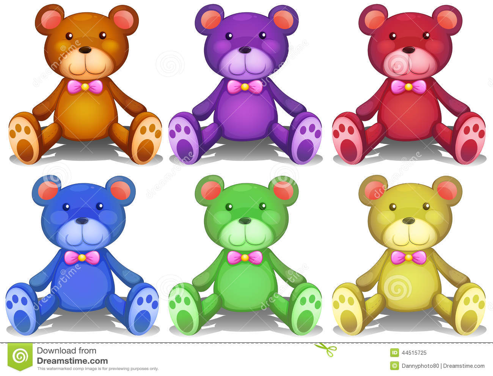 Colorful Teddy Bears Stock Vector Illustration Of Stuff