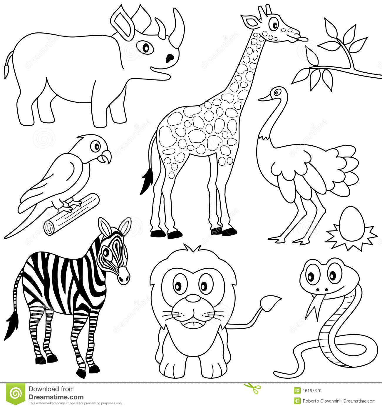 Coloring African Animals 1 Stock Vector
