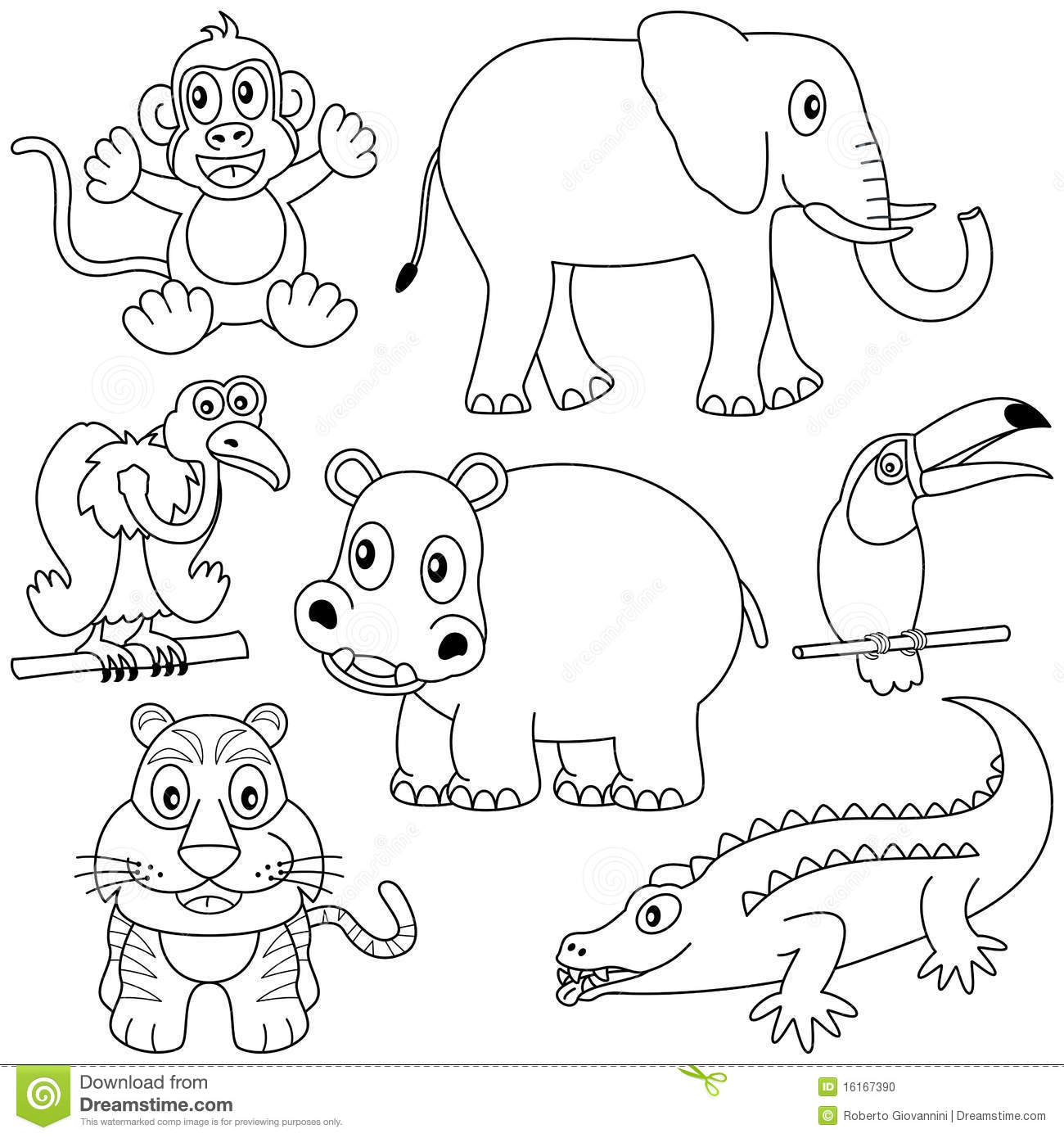 Coloring African Animals 2 Stock Photo