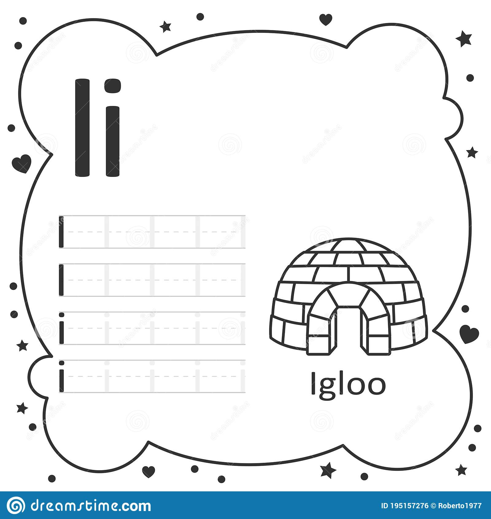 Coloring Alphabet Tracing Letters Igloo Stock Illustration