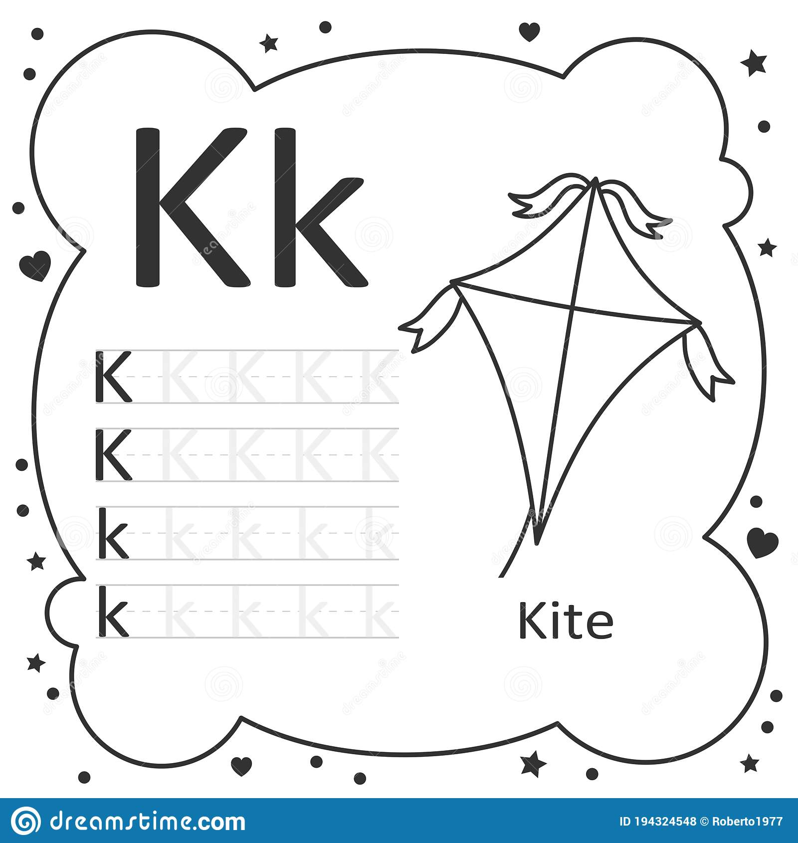 Coloring Alphabet Tracing Letters Kite Stock Vector