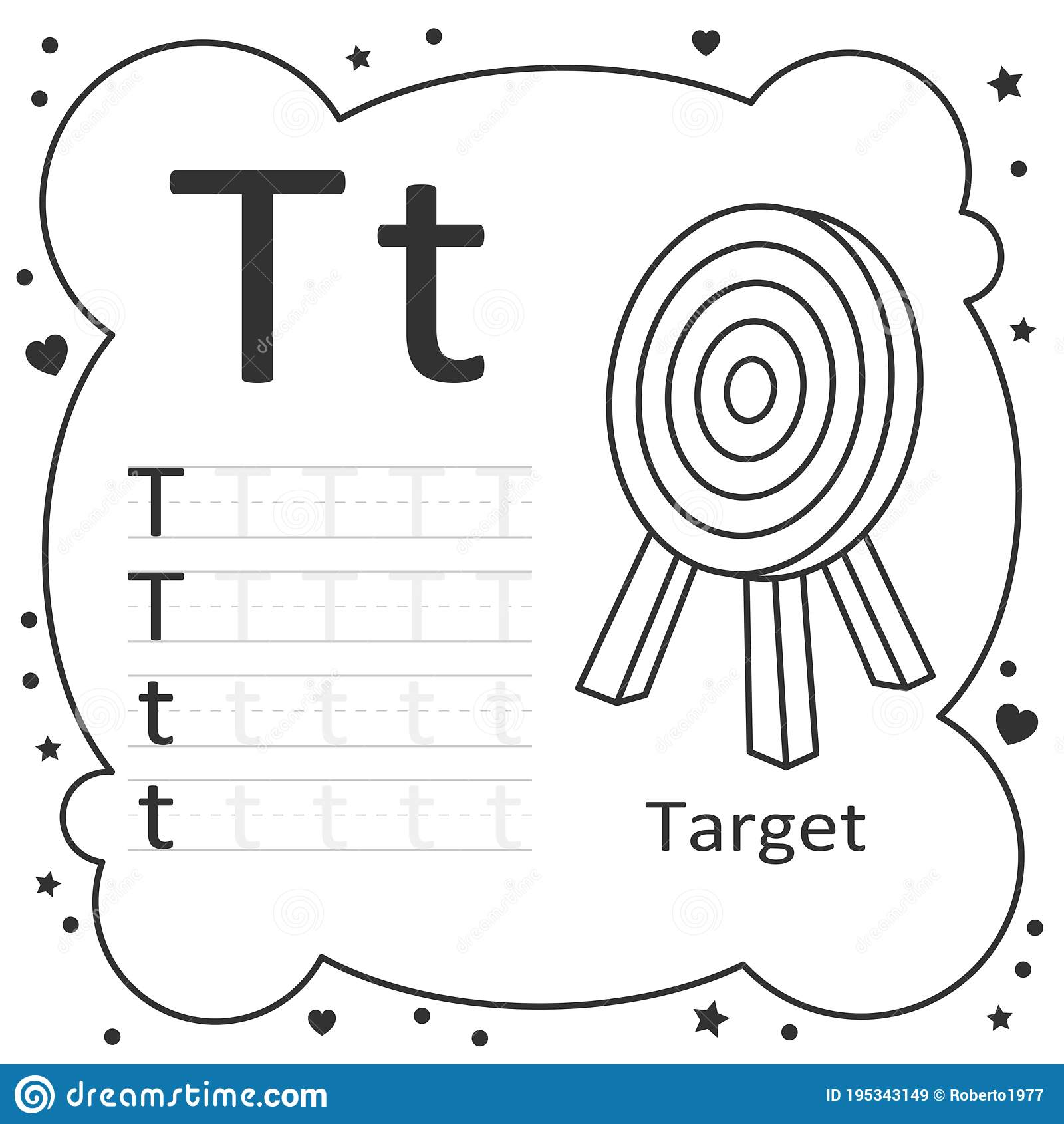 Coloring Alphabet Tracing Letters Target Stock Vector