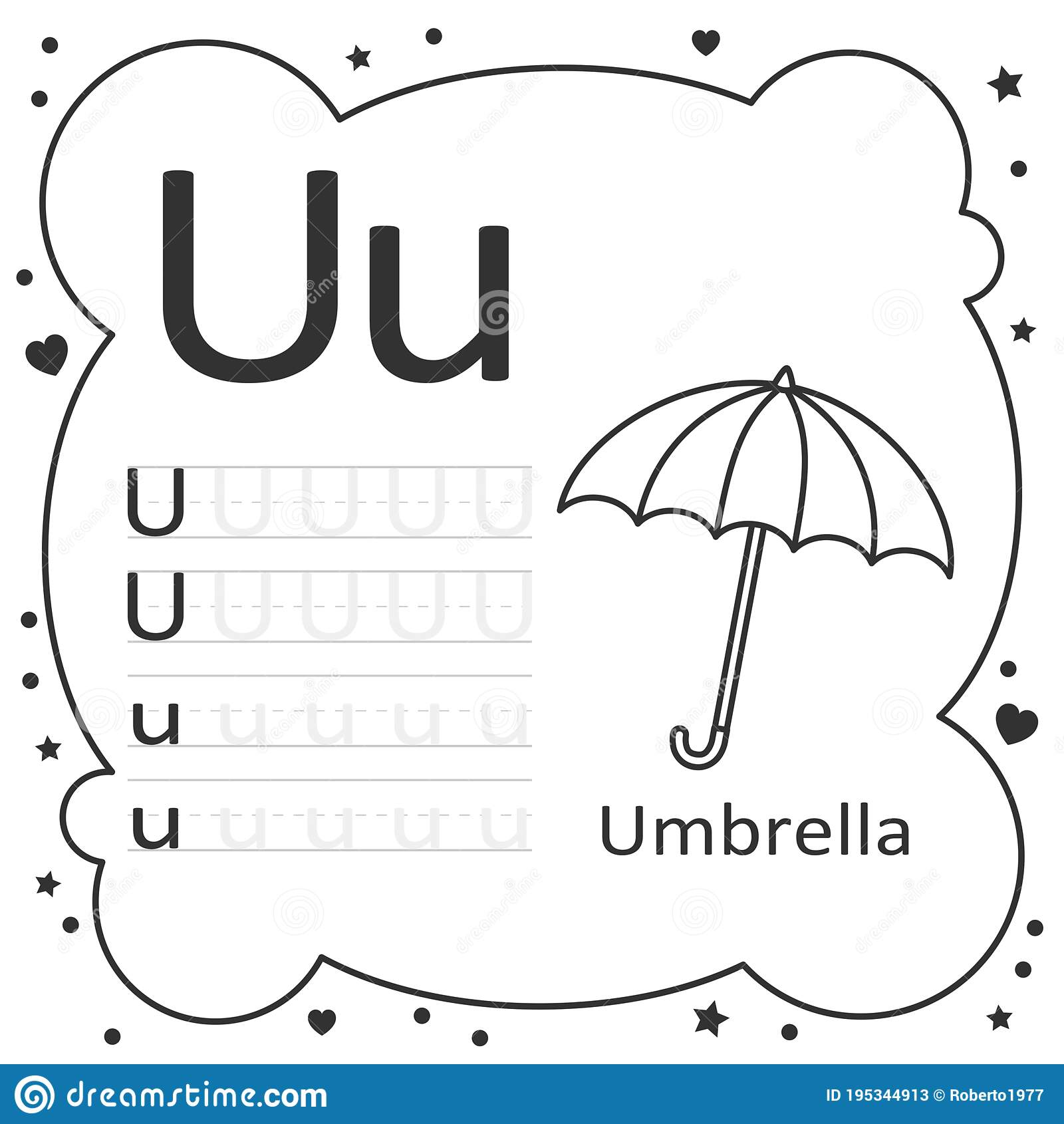 Coloring Alphabet Tracing Letters Umbrella Stock Vector