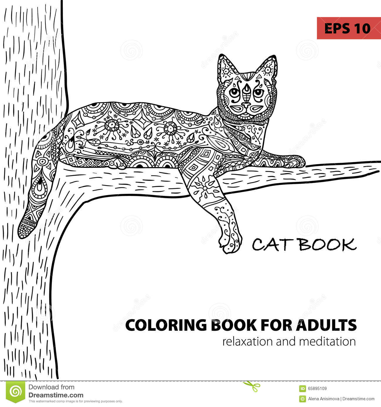 Coloring Book For Adults Zentangle Cat Book Ink Pen