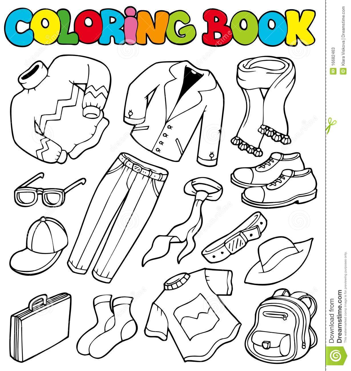 Coloring Book With Apparel 1 Stock Vector