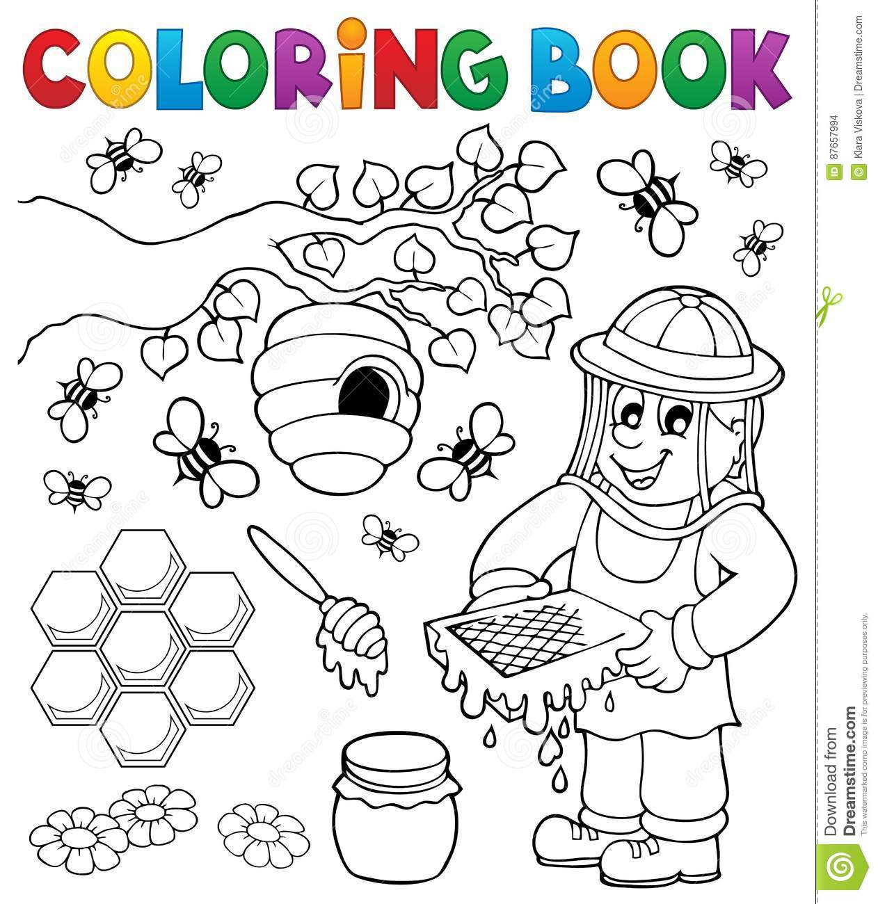 Coloring Book With Beekeeper Stock Vector