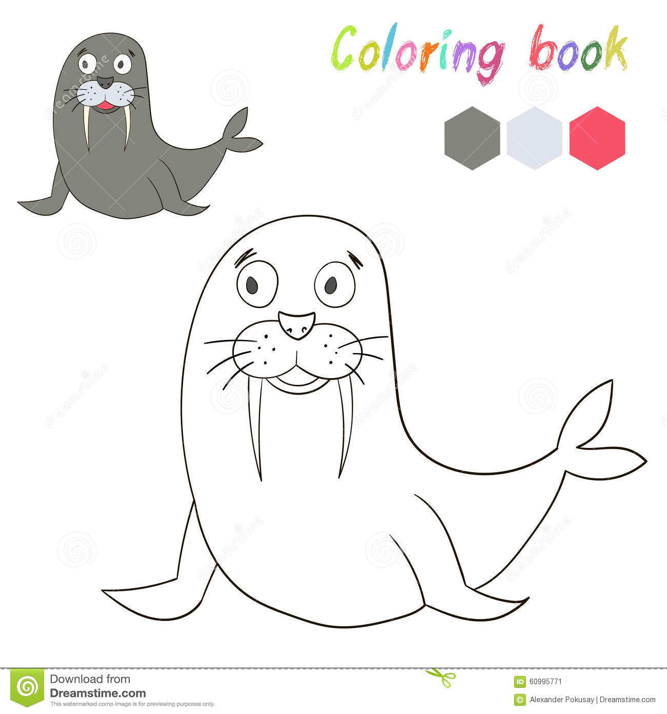 Coloring Book Bird Seal Kids Layout For Game Stock Vector